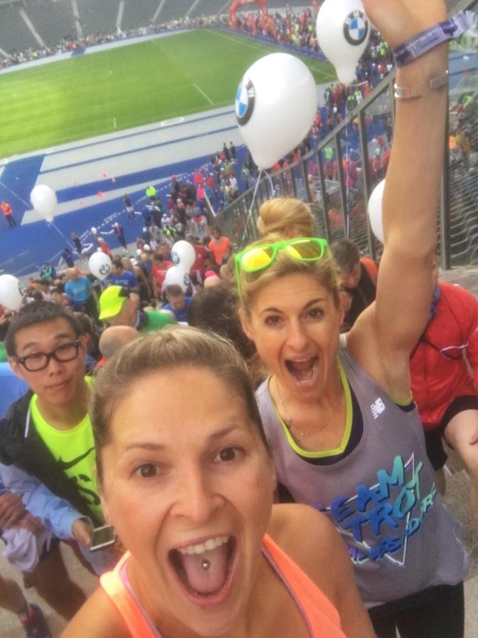 Jennifer and I running around the Olympic Stadium