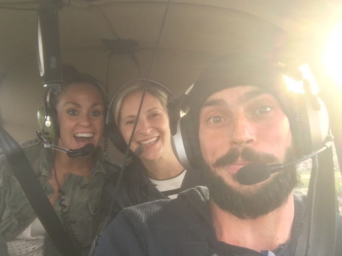 Liz, Me and Julien in a Helicopter